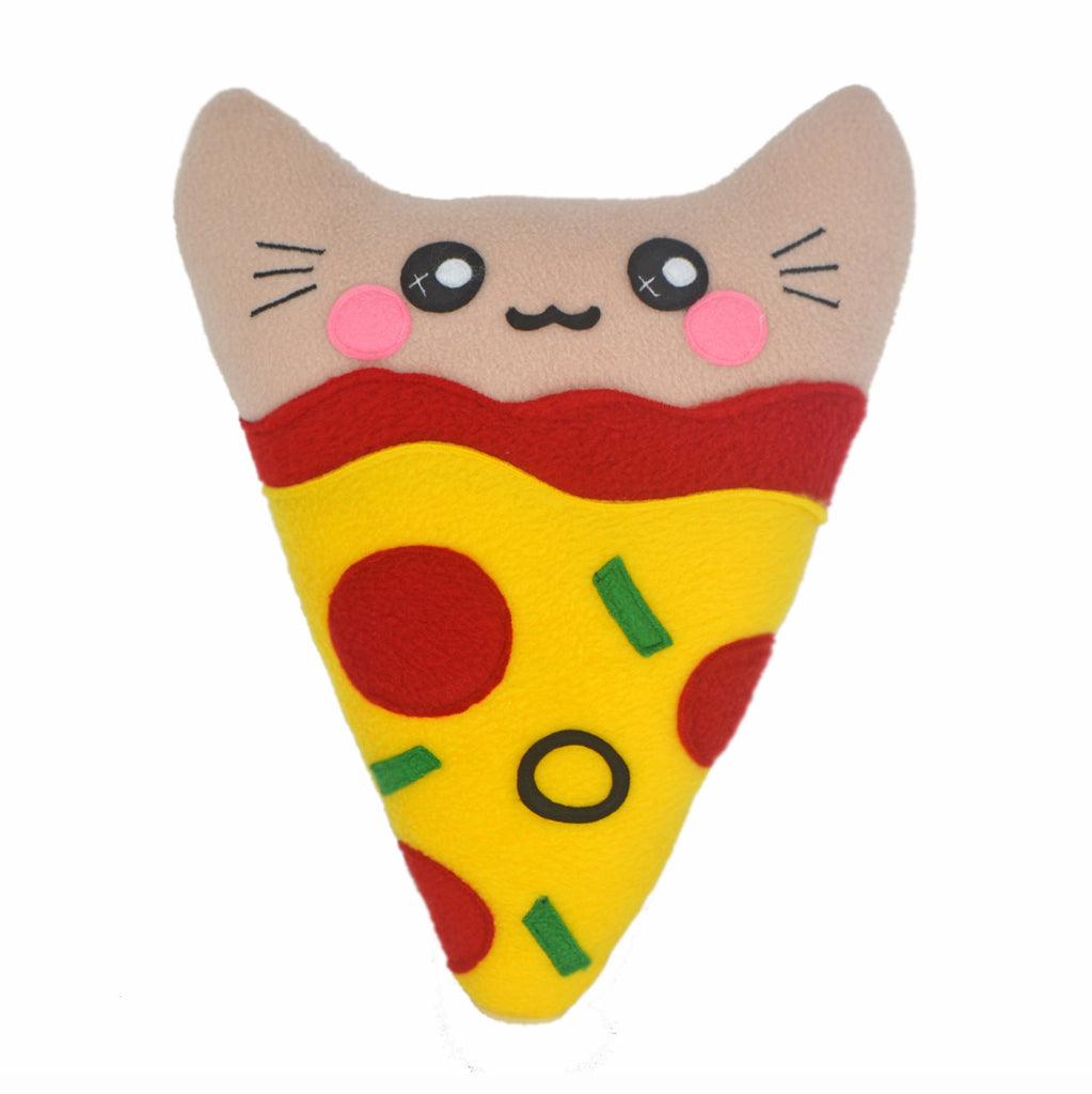 Pizza kitty slice pillow plushie kawaii novelty cushion pie food handmade