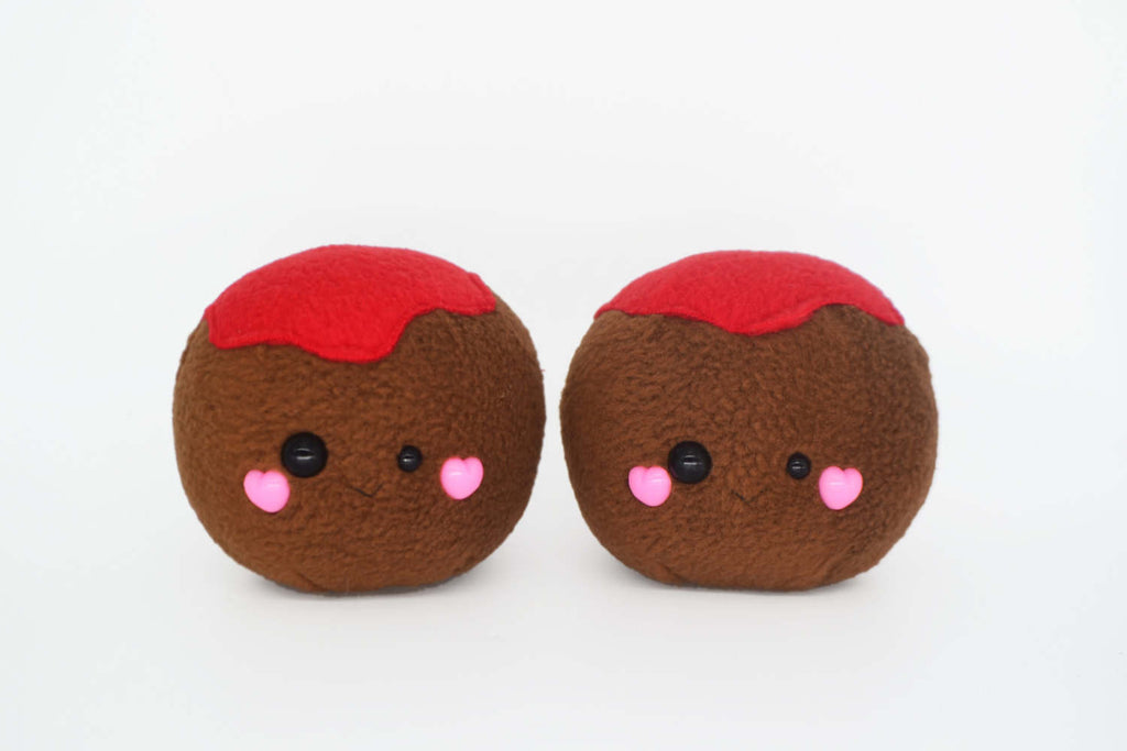 Meatball plushie / desk buddy italian meat balls kawaii cute junk food tomato sauce
