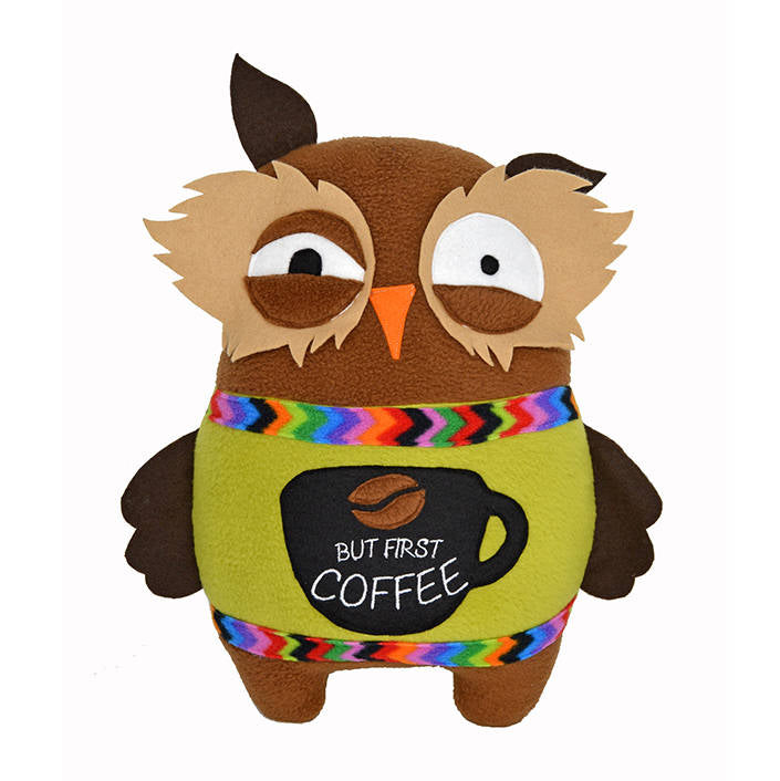 Sleep deprived owl coffee lover plush toy