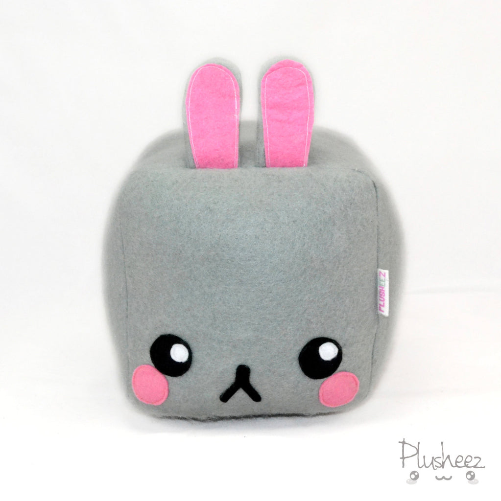 Square Bunny plushie pillow cushion cute rabbit kawaii grumpy animals fluffy