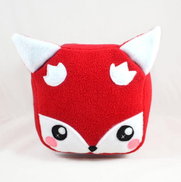 Cube fox plushie plush toy kawaii soft pillow cushion square loaf woodland creature cute