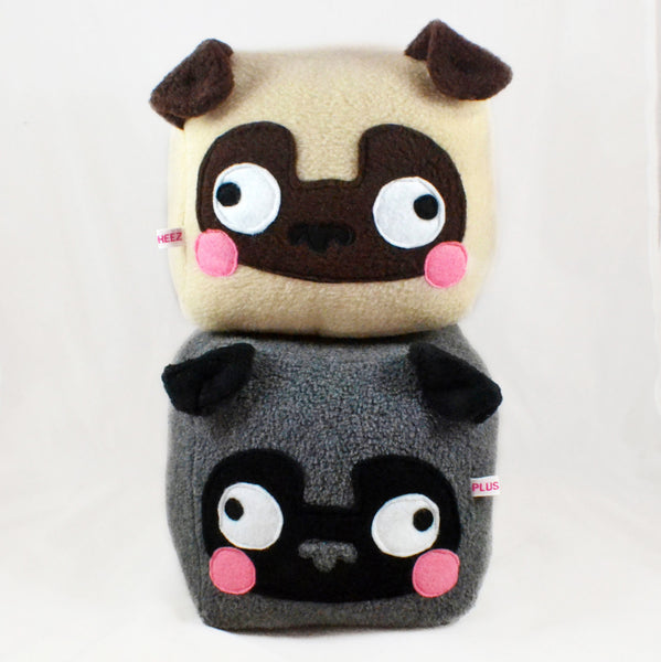 PUG cube plushie kawaii soft toy pillow cushion novelty home decor dog love animal plusheez
