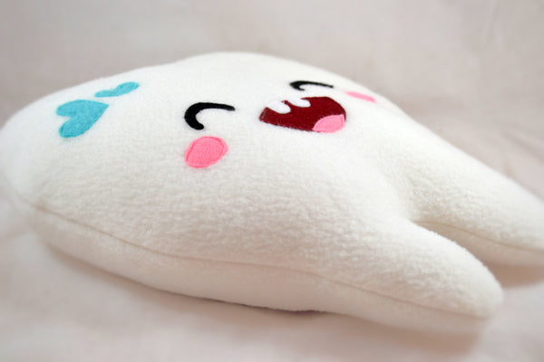 Sweet Tooth plushee / Kawaii happy tooth pillow