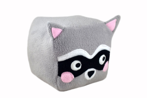 Raccoon Cube plushie , handmade kawaii novelty pillow stuffed animal