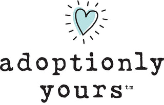 The Adoptionly Yours logo features the name along with a bright, teal-colored heart.