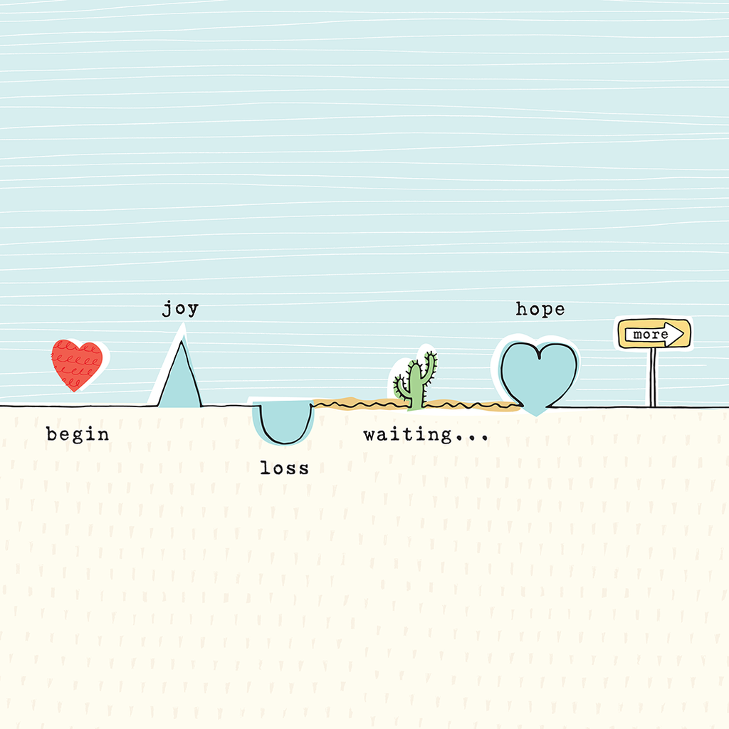 "Hand-drawn illustration of the adoption journey in soft shades of blue and cream. Line starts at ""begin"" with a heart drawing and moves up and down through ""joy"" and ""loss"" and ""waiting"" and ""hope"" leading to a sign that says ""more."""