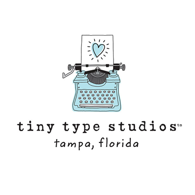 The Tiny Type Studios logo featuring a typewriter with the Adoptionly Your bright heart. Logo is hand-illustrated with the studio name and Tampa, Florida written beneath.