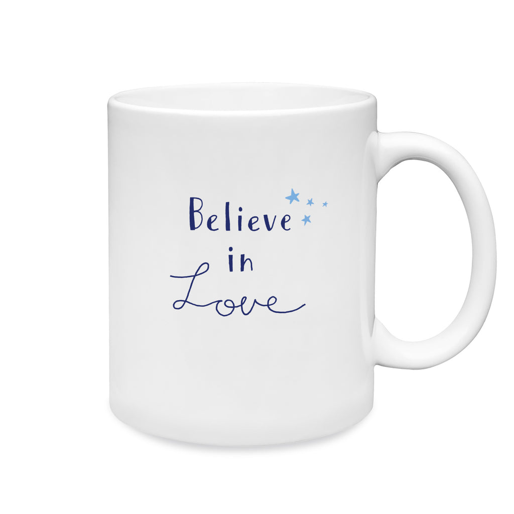 11 oz. White ceramic mug. Dishwasher and microwave safe. Centered on front of mug is a simple and charming illustration of words Believe in Love in blue with small light blue stars above word believe centered on front of mug.