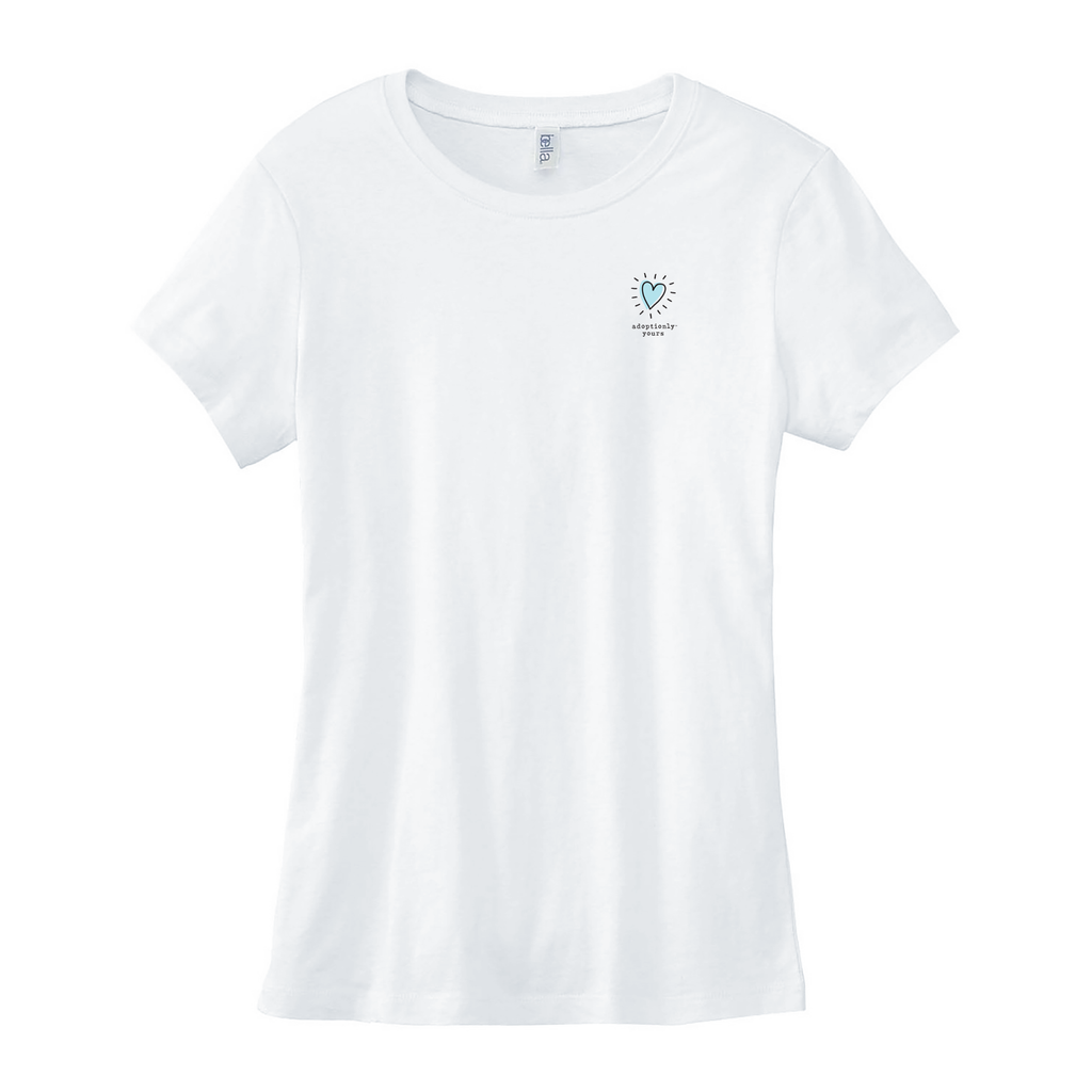 White 100% combed ringspun cotton slim fit crewneck tee. Longer length with cap sleeves. Graphic is about a 2 inch adoptionly yours heart logo on upper left chest. Logo in light teal blue with black rays and black border. Word adoptionly yours in black lowercase typewriter font below heart logo.