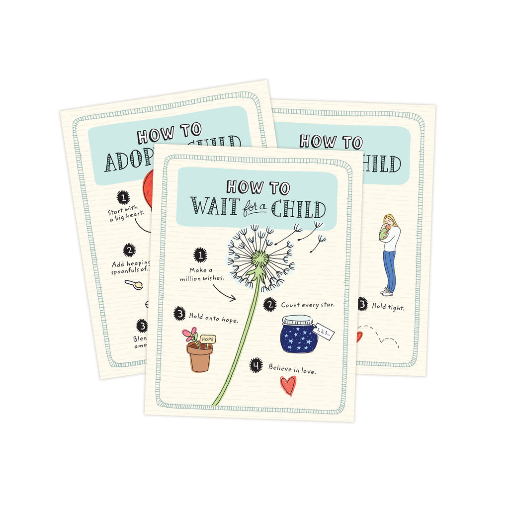 Three 4.25 x 5.5 inch greeting cards in a stack. Top card title reads How to Wait for a Child. Main image is an illustration of a dandelion with pieces of flower floating up.