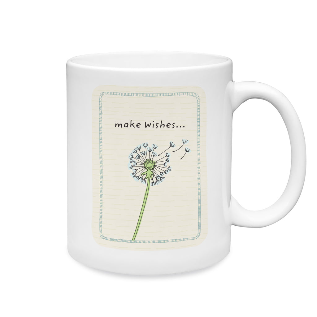 11 oz. white ceramic mug. Dishwasher and microwave safe. Centered on front of mug is a simple and charming illustration style of a dandelion flower dried out with a few seed bearing parachutes floating up. Above dandelion art are words make wishes…Background is cream with subtle hand-drawn dash pattern.