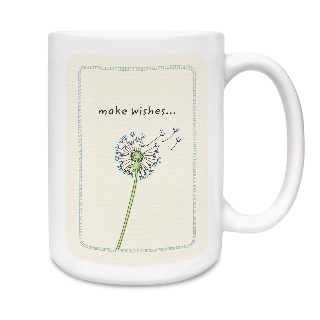 15 oz. white ceramic mug. Dishwasher and microwave safe. Centered on front of mug is a simple and charming illustration style of a dandelion flower dried out with a few seed bearing parachutes floating up. Above dandelion art are words make wishes…Background is cream with subtle hand-drawn dash pattern.