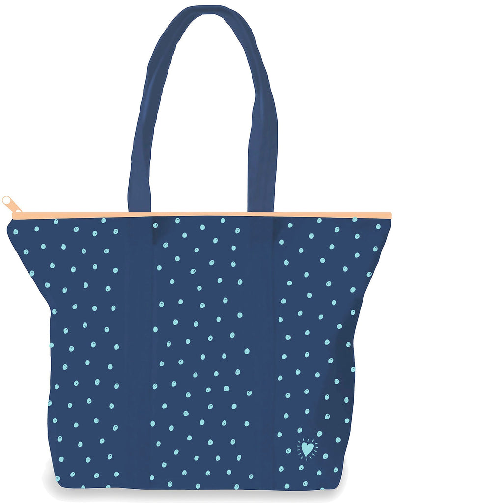 Back side of Midnight Blue 9 oz. canvas tote with a peach zipper. 17.5 by 15 by 5 inches. Small teal dots all over. Adoptionly Yours heart on bottom right corner in teal.