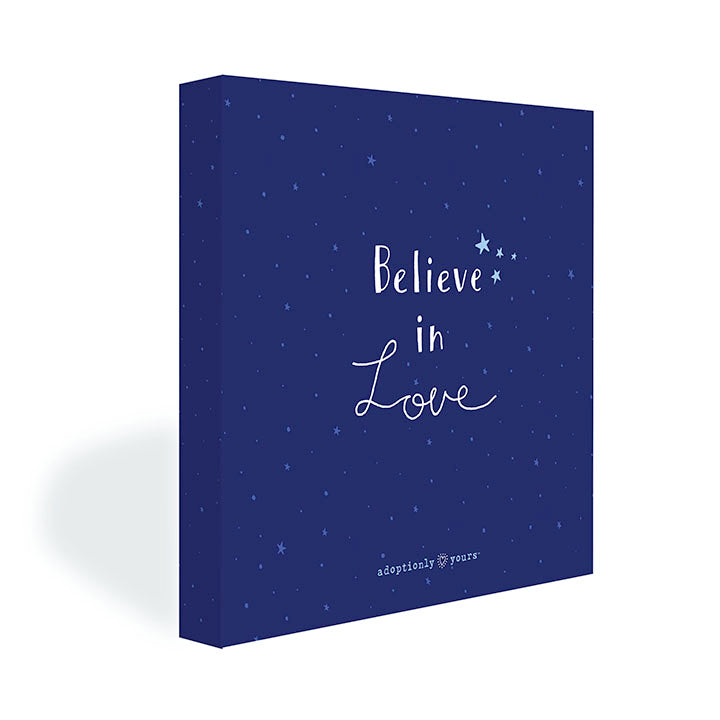 Three quarter view of Believe in Love Canvas.