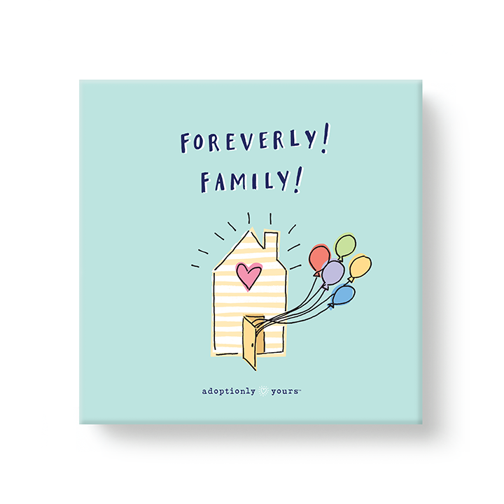 6 by 6 inch canvas wrap with 1.25 depth. Back of canvas with hard-sealed backing and hanging brackets. Simple and charming illustration style art wraps around the sides of frame. Title hand illustrated blue color font Finally! Family! Main image is a small yellow and white striped house with pink heart on a bright teal background. Brightly colored balloons are coming out the front door. Small adoptionly yours words and logo below artwork. Four sides of the canvas are a dark teal with white dashes pattern.