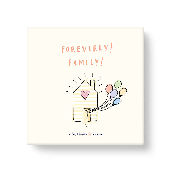 6 by 6 inch canvas wrap with 1.25 depth. Back of canvas with hard-sealed backing and hanging brackets. Simple and charming illustration style art wraps around the sides of frame. Title hand illustrated peach color font Finally! Family! Main image is a small yellow and white striped house with pink heart on a cream colored background. Pastel colored balloons are coming out the front door. Small adoptionly yours words and logo below artwork. Four sides of the canvas are yellow with white dashes pattern.