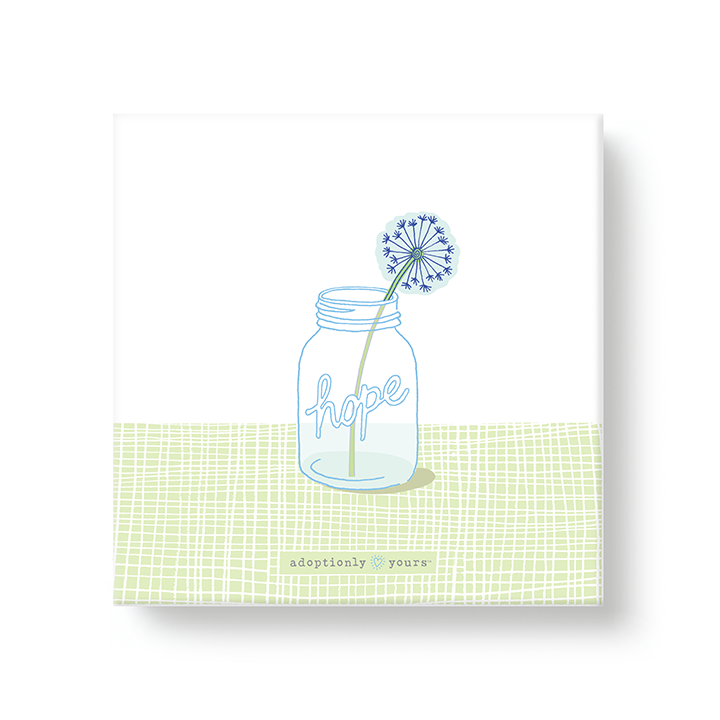 6 by 6 inch canvas wrap with 1.25 depth. Back of canvas with hard-sealed backing and hanging brackets. Simple and charming illustration style art wraps around the sides of frame. Main image is mason jar with word hope and single dried dandelion flower in jar sitting on lime green surface with hand drawn line pattern. Small adoptionly yours words and logo below artwork on front. Sides of frame is pale blue with white dandelion seed parachute pattern.
