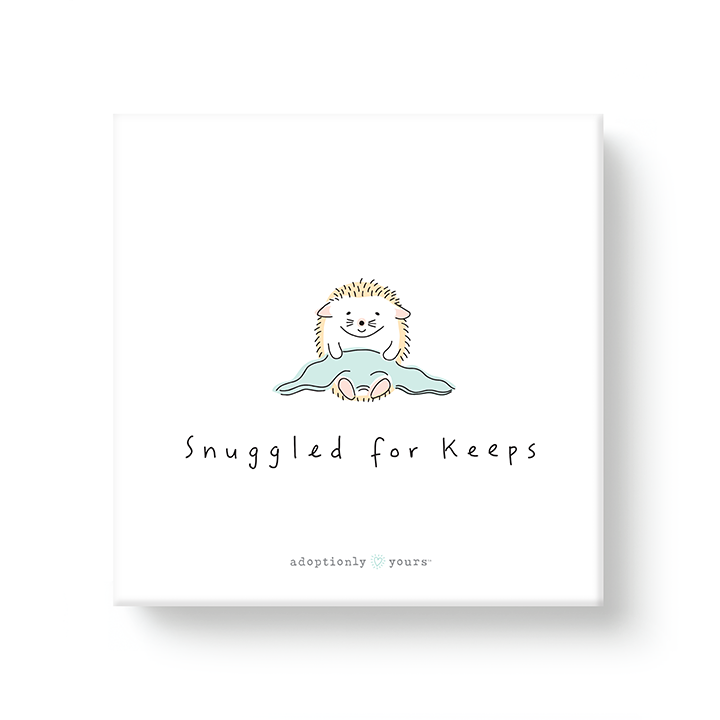 6 by 6 inch canvas wrap with 1.25 depth. Back of canvas with hard-sealed backing and hanging brackets. Simple and charming illustration style art wraps around the sides of frame. Title hand illustrated words Snuggled for keeps. Main image is one baby hedgehog with a small green blanket in lap. Background is white. All four sides are yellow with white hand drawn half circle pattern. Small adoptionly yours words and logo below artwork on front.