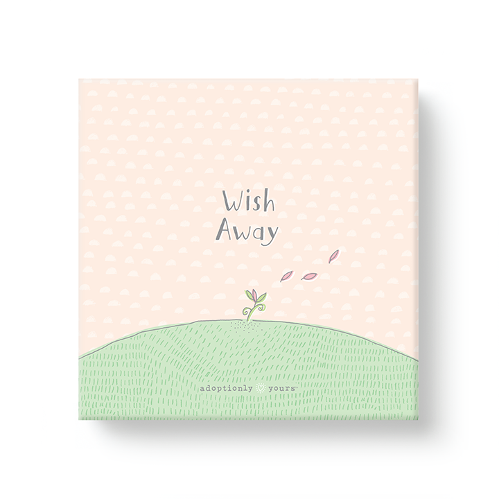 6 by 6 inch canvas wrap with 1.25 depth. Back of canvas with hard-sealed backing and hanging brackets. Simple and charming illustration style art wraps around the sides of frame. Title hand illustrated words Wish Away. Main image is a small hand drawn pink flower poking out of green grass with three pink pedals floating away. Background is light peach with a hand drawn pattern of small half moons and wraps from the front to the sides. Small adoptionly yours words and logo below artwork on front.