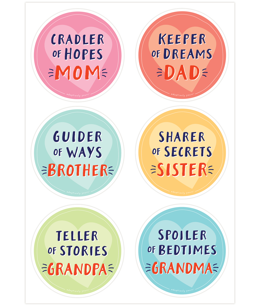 Set of six, 4 and 1/8 inch round durable matte vinyl weather resistant sticker. Easy to apply and reapply. 1/8 inch white border. The six stickers include Mom, Dad, Brother, Sister, Grandma and Grandpa.