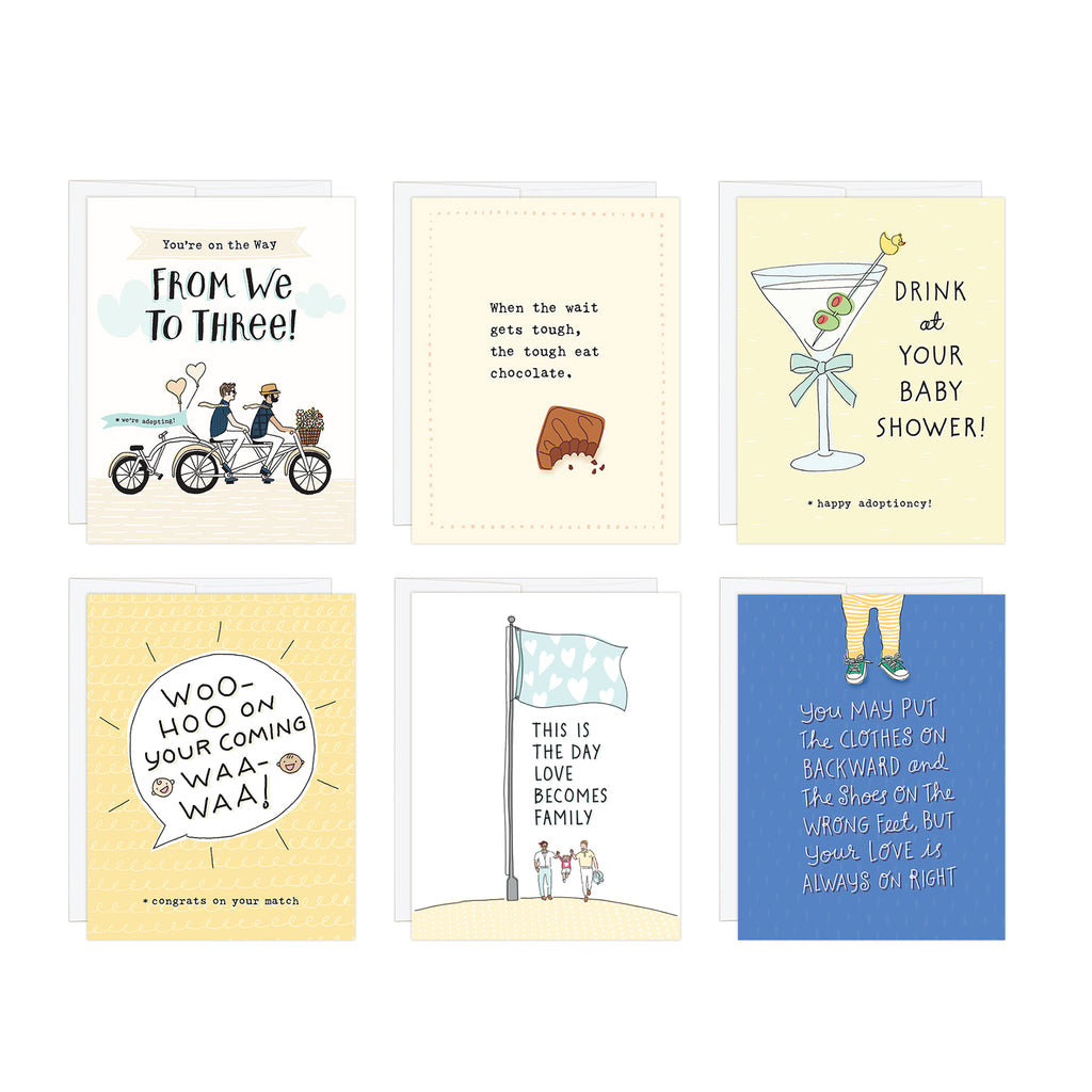 Layout of 6-card set for encouraging two adopting dads along the adoption journey. Hand-illustrated designs feature messages of encouragement for beginning, waiting, match, adoption day and bonding.  4.25 x 5.5 inch greeting cards. Blank Inside.