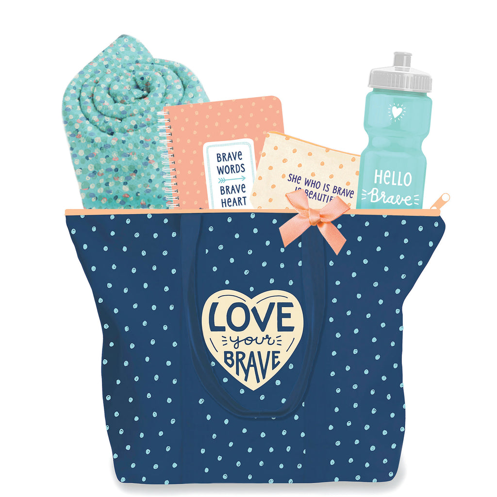 Midnight Blue 9 oz. canvas tote peach zipper. 17.5 by 15 by 5 inches. Small teal dots all over. Cream 4 inch heart centered with Love Your Brave. Adoptionly yours heart on back right corner. Includes 50 by 60 inch fluffy teal blanket with big Love Your Brave, a 5.75 by 8.5 inch Brave Words Brave Heart journal. Zippered 7.75 by 6 inch natural cosmetic bag with peach dots and She Who Is Brave Is Beautiful. 28 oz. pga-free bright teal water bottle Hello Brave one in white.