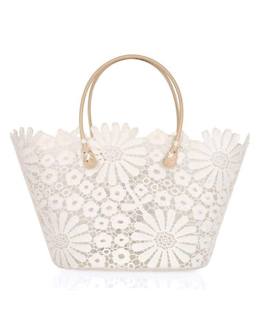 Women's Summer Lace Bag Daisy Cream - karlahanson.com