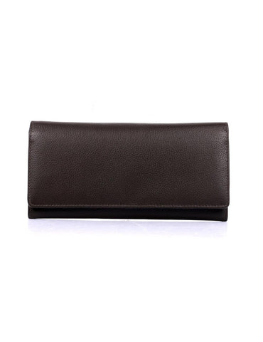 Women's RFID Leather Trifold Wallet Espresso Front - karlahanson.com
