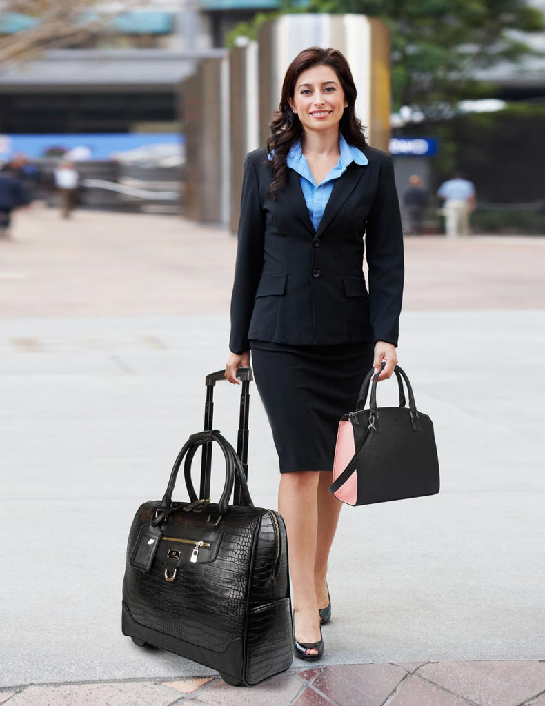 Women's RFID Professional & Travel Trolley Handbag Set Black Crocodile - karlahanson.com