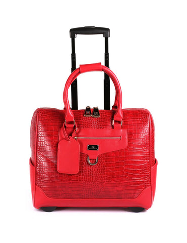 Women's RFID Professional & Travel Trolley Red Crocodile Front View - karlahanson.com