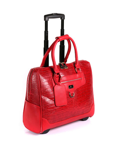 Women's RFID Professional & Travel Trolley Red Crocodile Side View - karlahanson.com
