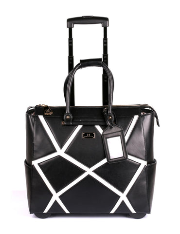 Women's RFID Professional & Travel Trolley Geometric Pattern Black Front - karlahanson.com
