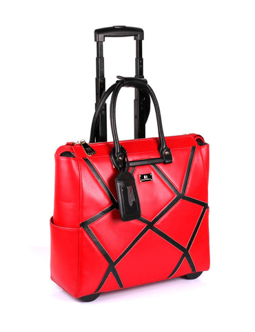 Women's RFID Professional & Travel Trolley Geometric Pattern Red Side - karlahanson.com