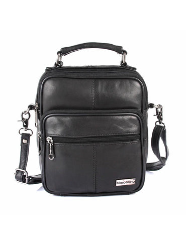 Men's Compact Leather Travel Crossbody Bag Black Front - karlahanson.com