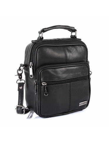 Men's Compact Leather Travel Crossbody Bag Black Side - karlahanson.com