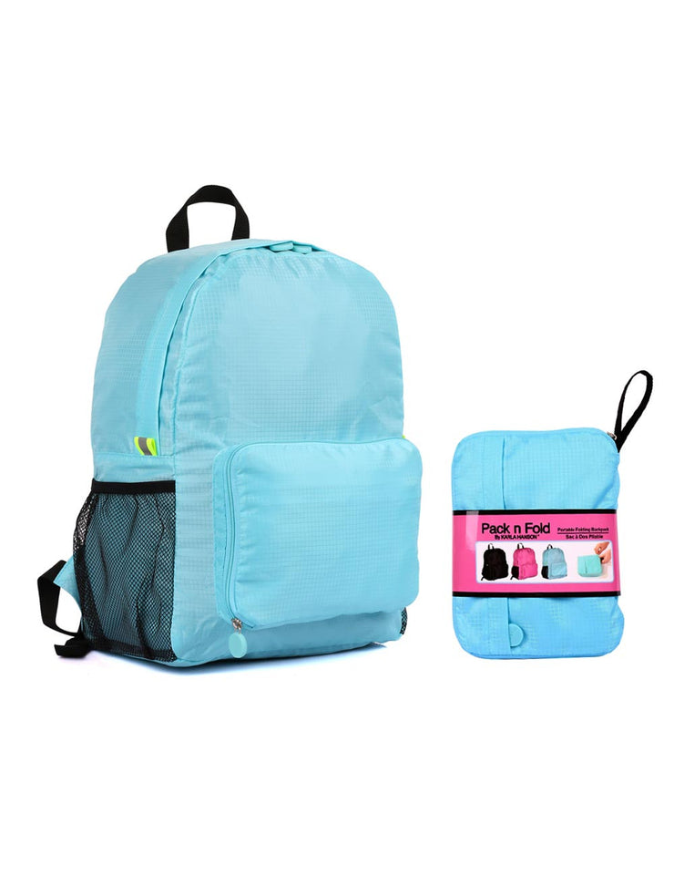 54174ed86a04 ... Pack n Fold Foldable Travel Backpack Blue - karlahanson.com
