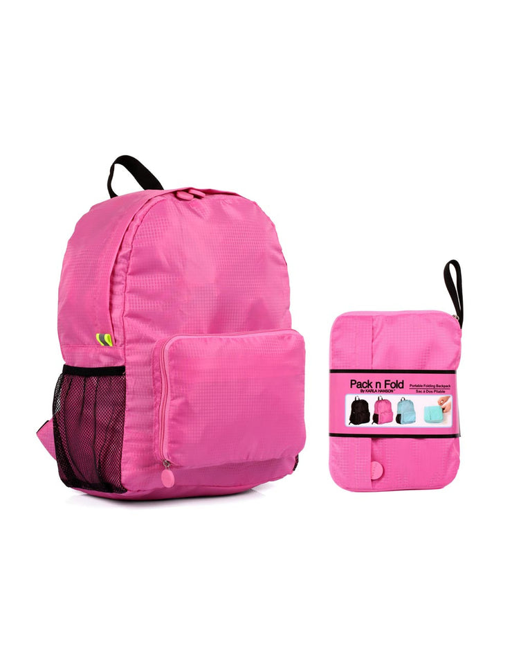 aa99b2487d5a Pack n Fold Foldable Travel Backpack Pink - karlahanson.com ...