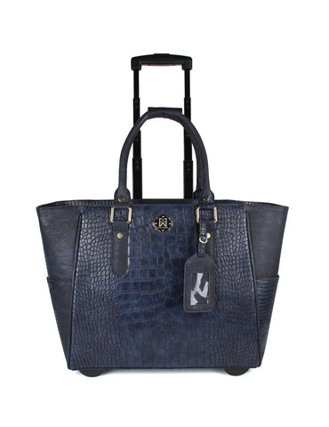 Women's RFID Professional & Travel Tote Trolleys Navy Front - karlahanson.com