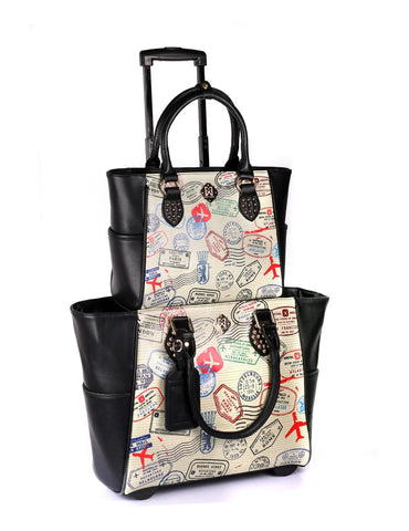 Women's RFID Professional & Travel Trolley Handbag Set Stamps - karlahanson.com