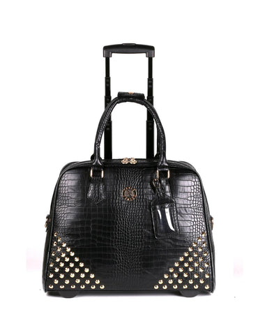 Women's RFID Professional & Travel Studded Trolley Black Crocodile Front - karlahanson.com