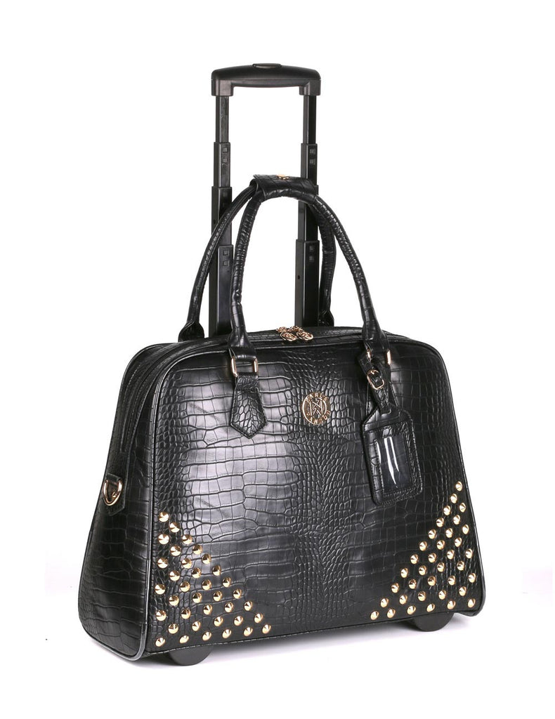 Women's RFID Professional & Travel Studded Trolley Black Crocodile - karlahanson.com