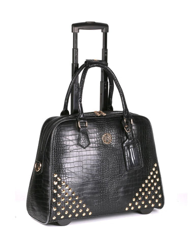 Women's RFID Professional & Travel Studded Trolley Black Crocodile Side - karlahanson.com