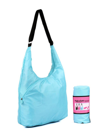 Pack n Fold Foldable Hobo Crossbody Bag Blue - karlahanson.com