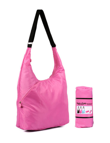Pack n Fold Foldable Hobo Crossbody Bag Pink - karlahanson.com
