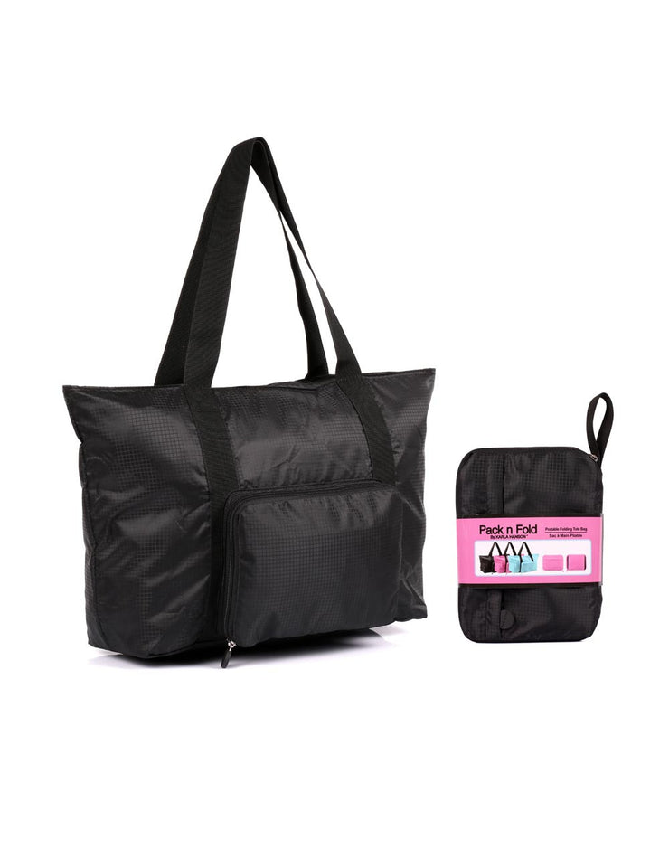 f3981fad1e22 ... Pack n Fold Foldable Travel Tote Bag Black - karlahanson.com