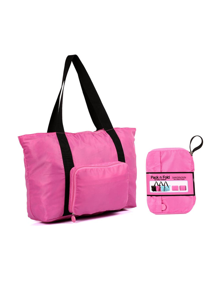 f2b399477b1c Pack n Fold Foldable Travel Tote Bag Pink - karlahanson.com ...