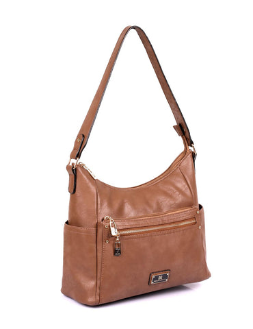 Lindsay Women's RFID Hobo Bag Tan Side - karlahanson.com