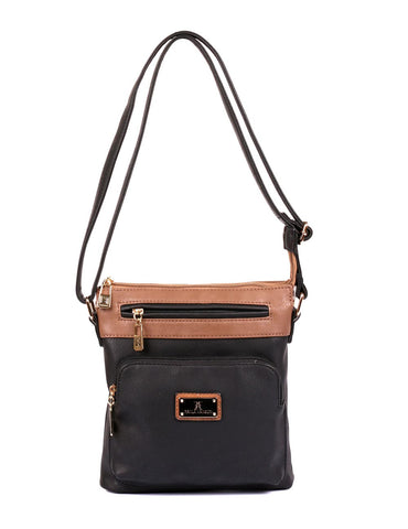 Christine Women's RFID Crossbody Bag I Black Tan Front - karlahanson.com