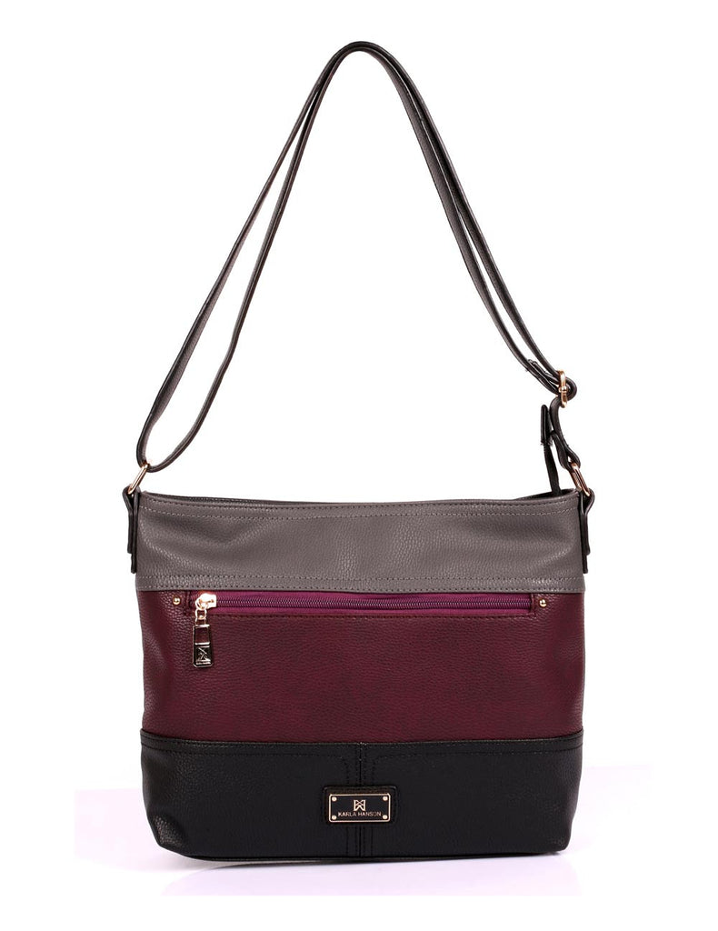 Christine Women's RFID Crossbody Bag II Black Grey Burgundy Front - karlahanson.com
