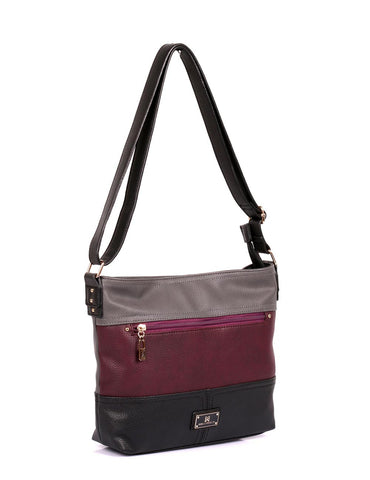 Christine Women's RFID Crossbody Bag II Black Grey Burgundy Side - karlahanson.com
